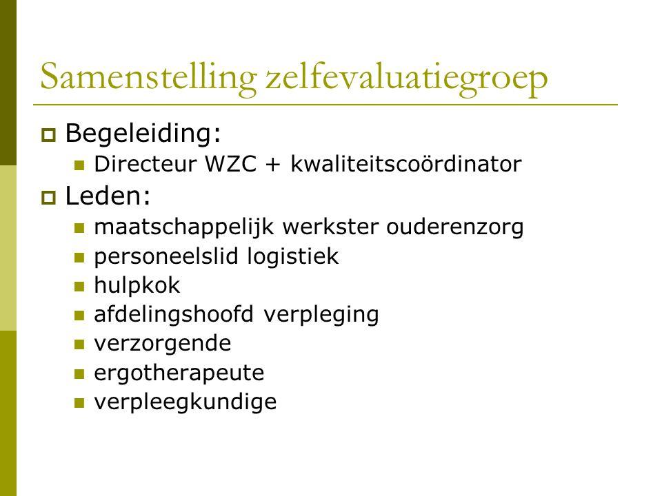 Samenstelling zelfevaluatiegroep  Begeleiding: Directeur WZC + kwaliteitscoördinator  Leden: maatschappelijk werkster ouderenzorg personeelslid logi