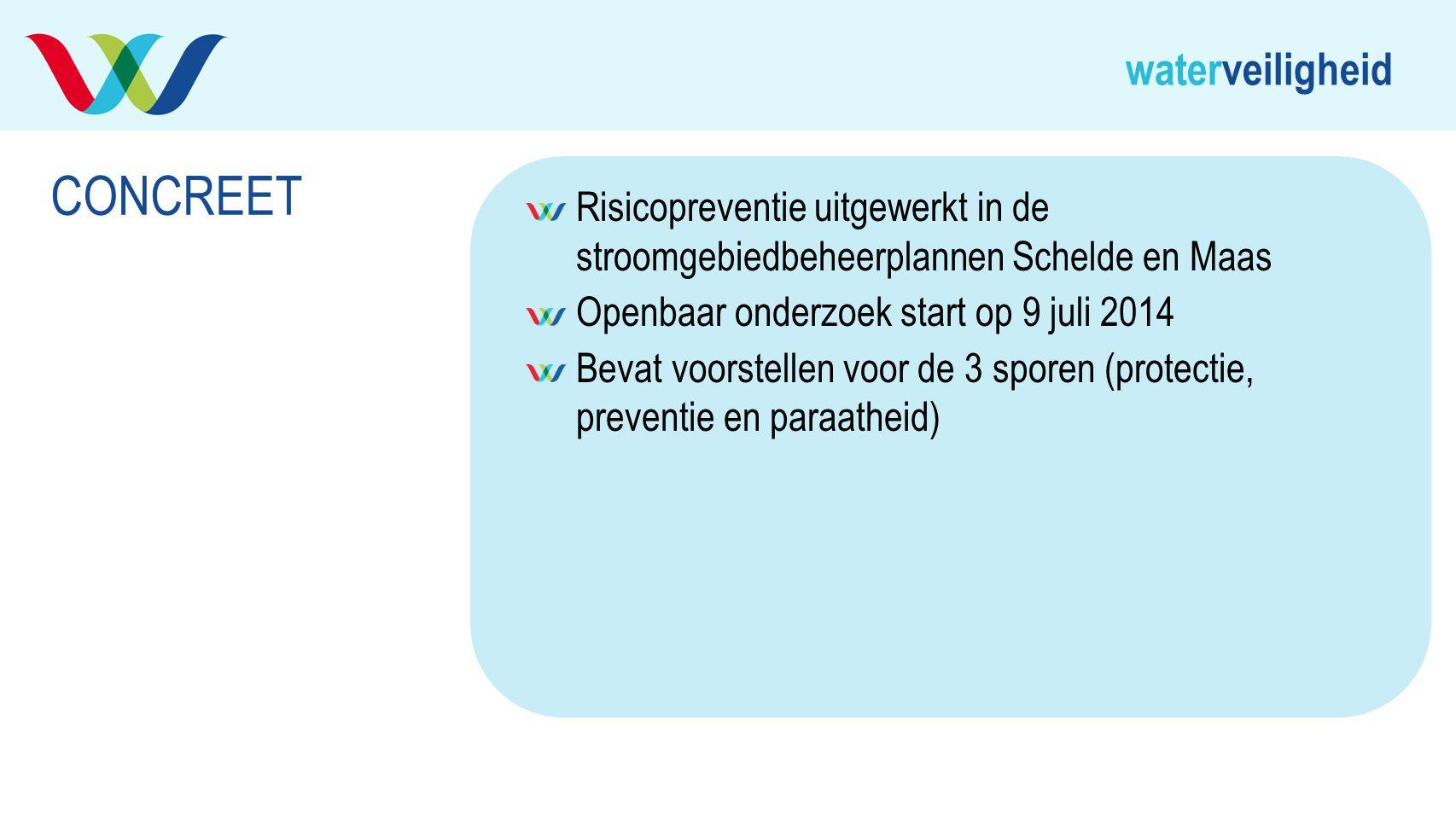 waterveiligheid Risicopreventie uitgewerkt in de stroomgebiedbeheerplannen Schelde en Maas Openbaar onderzoek start op 9 juli 2014 Bevat voorstellen v