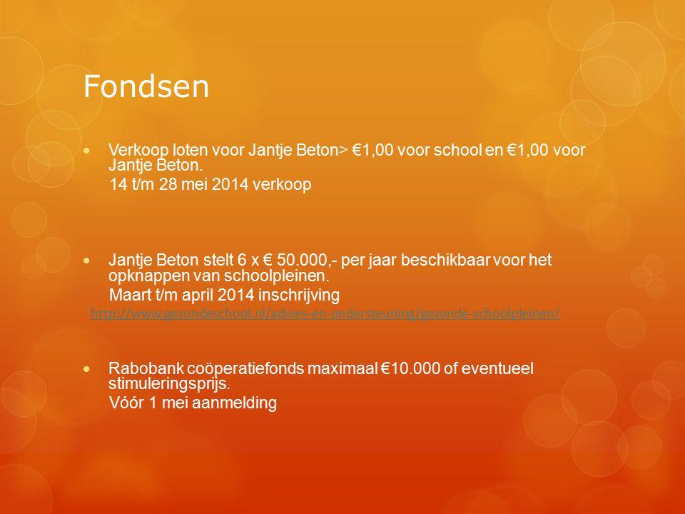 Fondsen  Verkoop loten voor Jantje Beton> €1,00 voor school en €1,00 voor Jantje Beton. 14 t/m 28 mei 2014 verkoop  Jantje Beton stelt 6 x € 50.000,