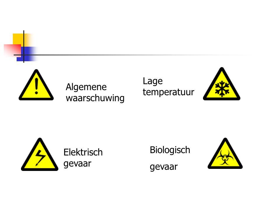 Algemene waarschuwing Elektrisch gevaar Lage temperatuur Biologisch gevaar