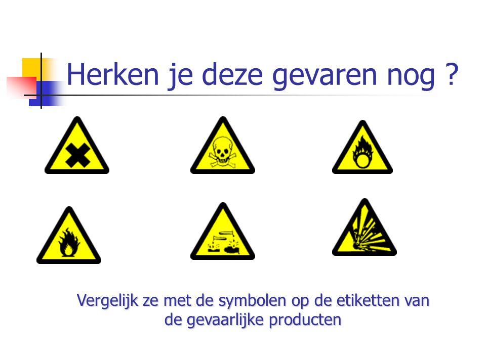 Herken je deze gevaren nog ? Vergelijk ze met de symbolen op de etiketten van de gevaarlijke producten