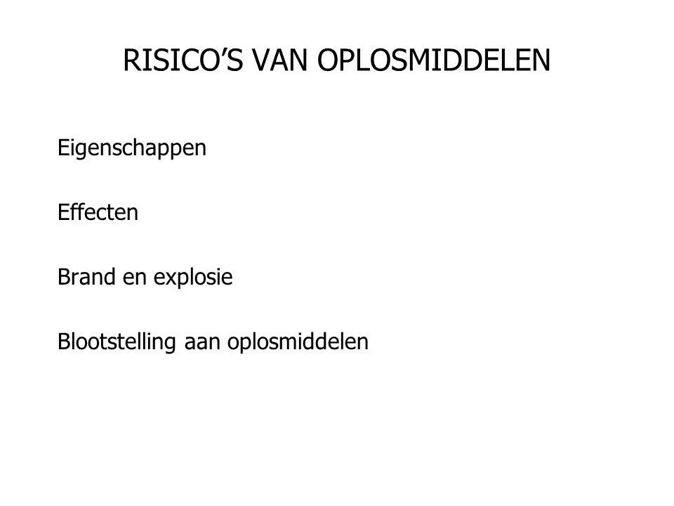 RISICO'S VAN OPLOSMIDDELEN Eigenschappen Effecten Brand en explosie Blootstelling aan oplosmiddelen