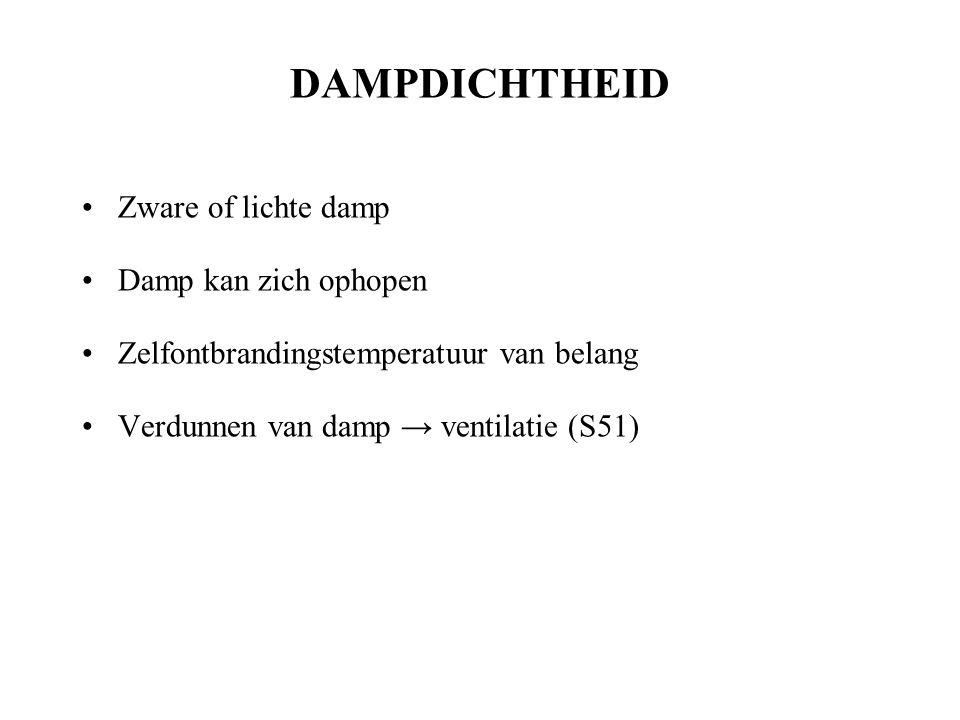 DAMPDICHTHEID Zware of lichte damp Damp kan zich ophopen Zelfontbrandingstemperatuur van belang Verdunnen van damp → ventilatie (S51)