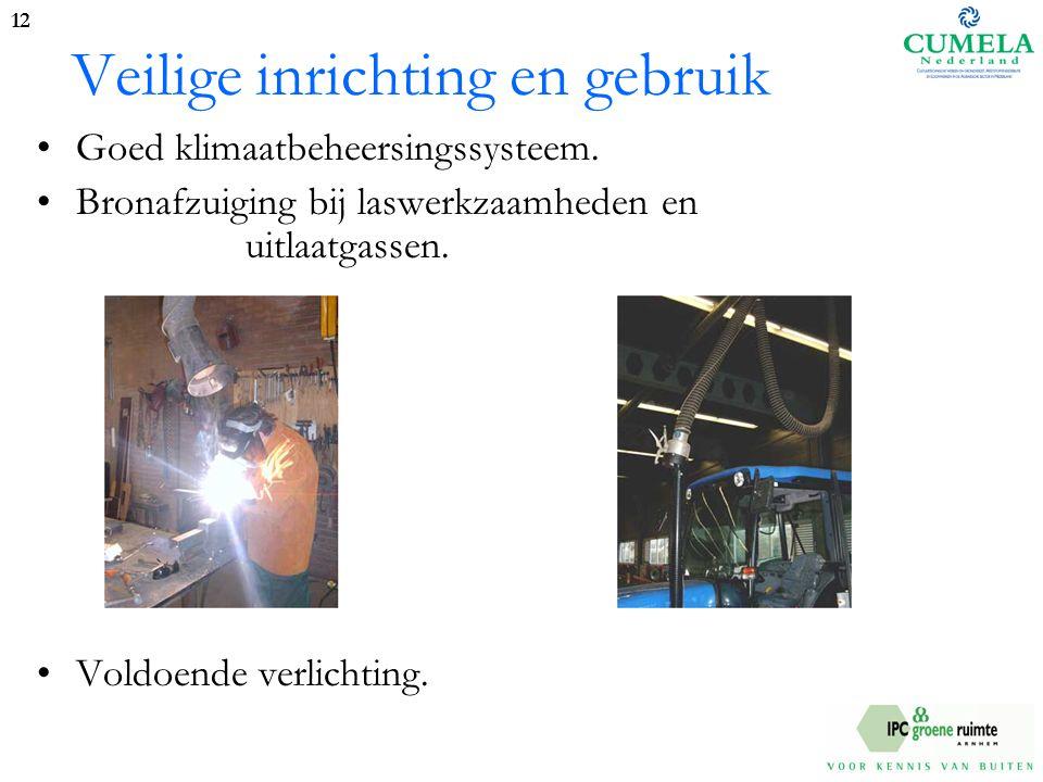 Veilige inrichting en gebruik Goed klimaatbeheersingssysteem.