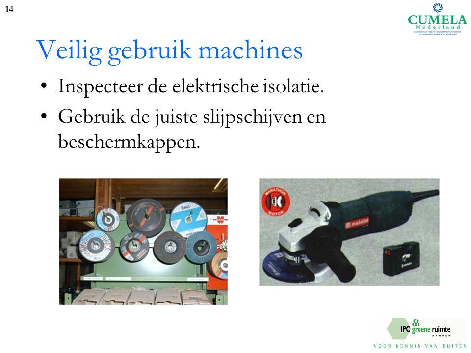 Veilig gebruik machines Inspecteer de elektrische isolatie.