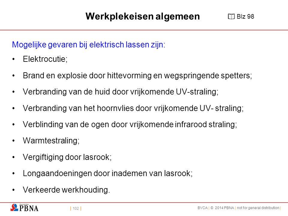 | 102 | BVCA | © 2014 PBNA | not for general distribution | Werkplekeisen algemeen Mogelijke gevaren bij elektrisch lassen zijn: Elektrocutie; Brand e