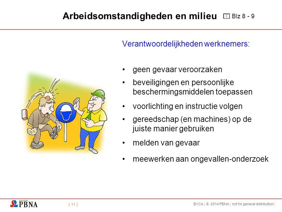 | 11 | BVCA | © 2014 PBNA | not for general distribution | Arbeidsomstandigheden en milieu Verantwoordelijkheden werknemers: geen gevaar veroorzaken b