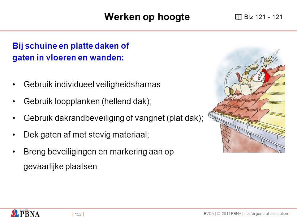 | 122 | BVCA | © 2014 PBNA | not for general distribution | Werken op hoogte Bij schuine en platte daken of gaten in vloeren en wanden: Gebruik indivi