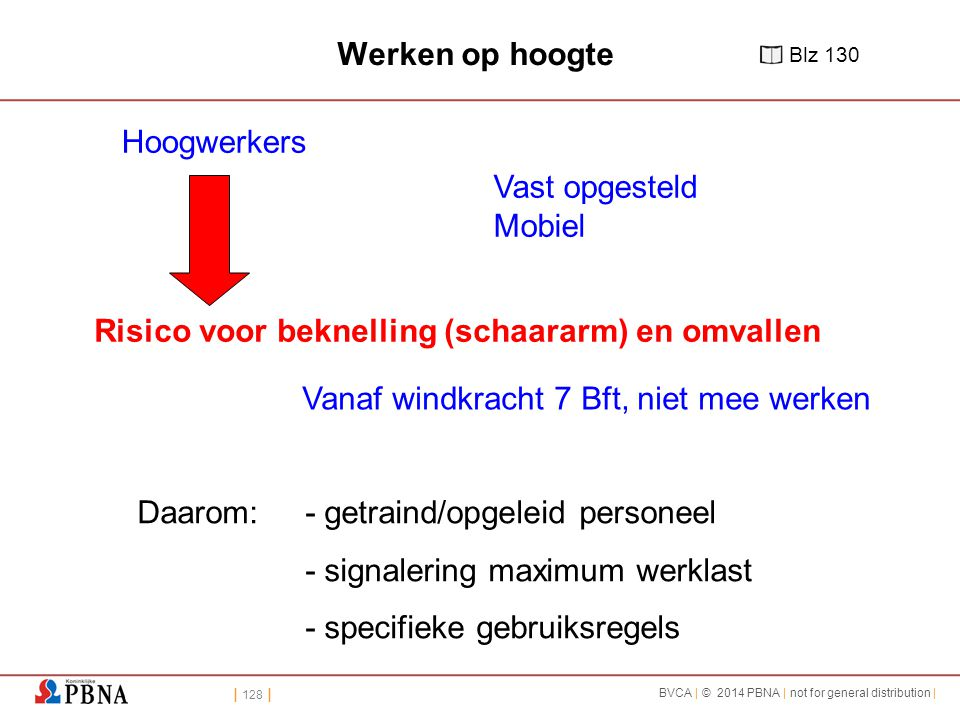 | 128 | BVCA | © 2014 PBNA | not for general distribution | Hoogwerkers Vast opgesteld Mobiel Risico voor beknelling (schaararm) en omvallen Daarom:-