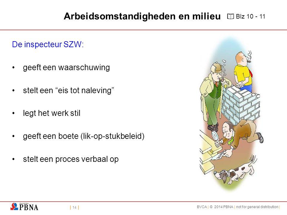 | 14 | BVCA | © 2014 PBNA | not for general distribution | Arbeidsomstandigheden en milieu De inspecteur SZW: geeft een waarschuwing stelt een eis tot naleving legt het werk stil geeft een boete (lik-op-stukbeleid) stelt een proces verbaal op Blz 10 - 11
