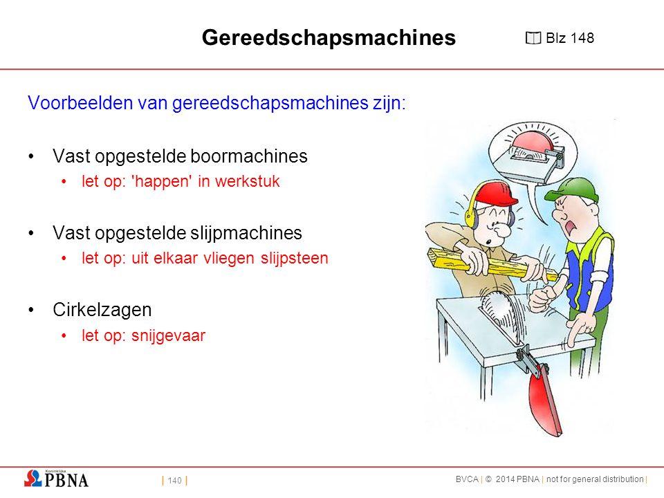 | 140 | BVCA | © 2014 PBNA | not for general distribution | Gereedschapsmachines Voorbeelden van gereedschapsmachines zijn: Vast opgestelde boormachin