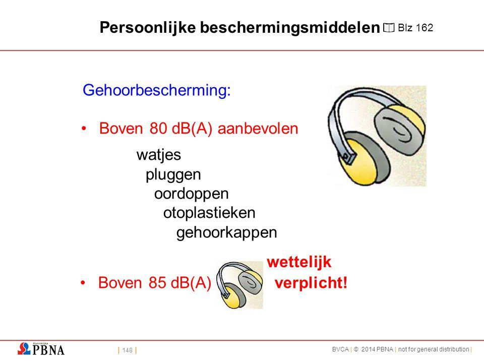 | 148 | BVCA | © 2014 PBNA | not for general distribution | Boven 85 dB(A) verplicht! Gehoorbescherming: Boven 80 dB(A) aanbevolen watjes pluggen oord