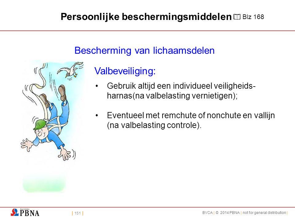 | 151 | BVCA | © 2014 PBNA | not for general distribution | Bescherming van lichaamsdelen Valbeveiliging: Gebruik altijd een individueel veiligheids- harnas(na valbelasting vernietigen); Eventueel met remchute of nonchute en vallijn (na valbelasting controle).