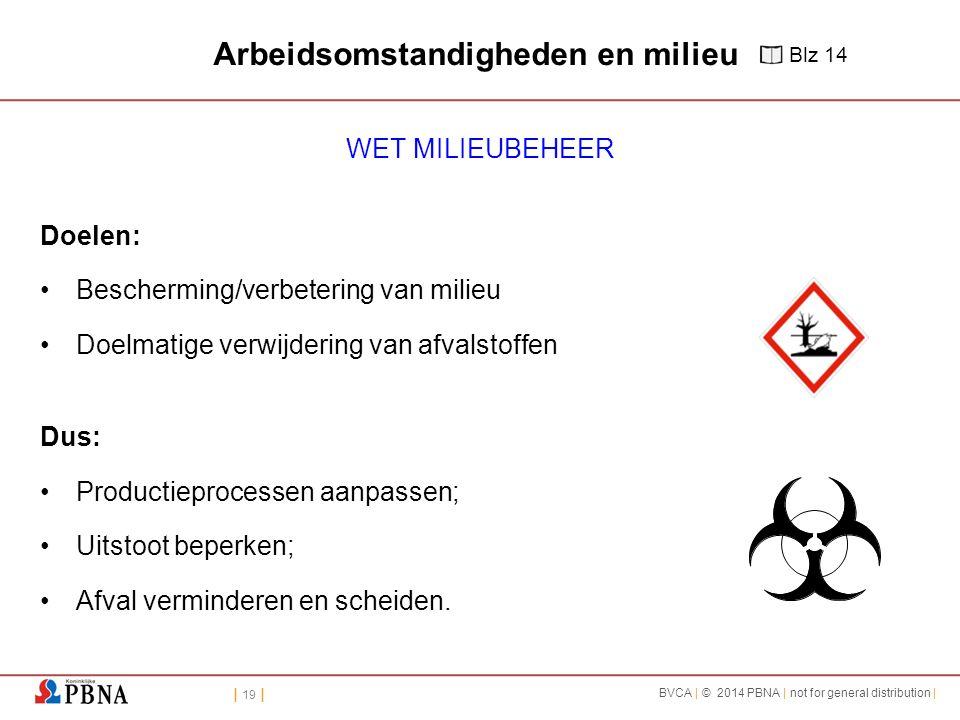 | 19 | BVCA | © 2014 PBNA | not for general distribution | Arbeidsomstandigheden en milieu WET MILIEUBEHEER Doelen: Bescherming/verbetering van milieu