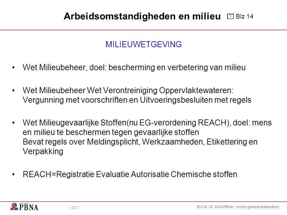 | 20 | BVCA | © 2014 PBNA | not for general distribution | Arbeidsomstandigheden en milieu MILIEUWETGEVING Wet Milieubeheer, doel: bescherming en verb
