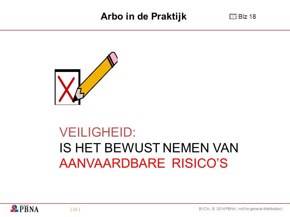 | 24 | BVCA | © 2014 PBNA | not for general distribution | VEILIGHEID: IS HET BEWUST NEMEN VAN AANVAARDBARE RISICO'S Arbo in de Praktijk Blz 18