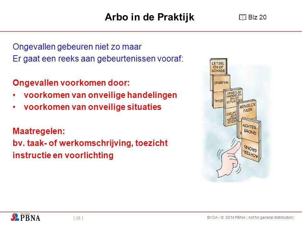 | 26 | BVCA | © 2014 PBNA | not for general distribution | Arbo in de Praktijk Ongevallen gebeuren niet zo maar Er gaat een reeks aan gebeurtenissen v