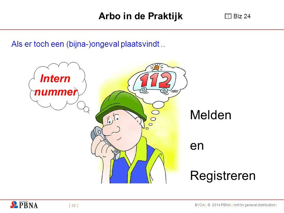 | 28 | BVCA | © 2014 PBNA | not for general distribution | Melden en Registreren Intern nummer Arbo in de Praktijk Als er toch een (bijna-)ongeval plaatsvindt..