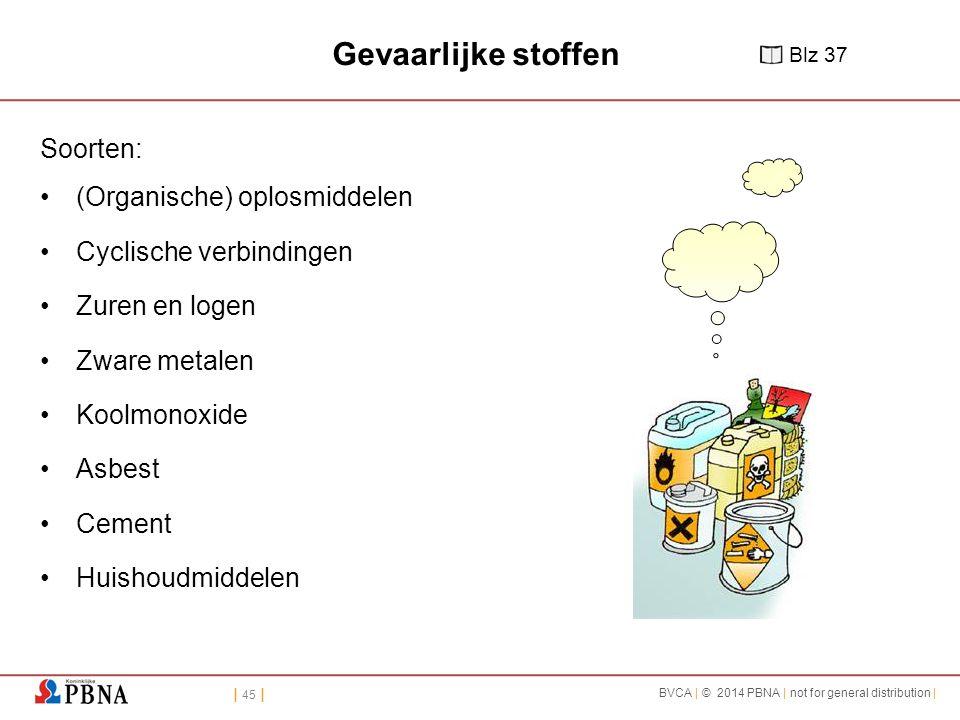 | 45 | BVCA | © 2014 PBNA | not for general distribution | Gevaarlijke stoffen Soorten: (Organische) oplosmiddelen Cyclische verbindingen Zuren en log