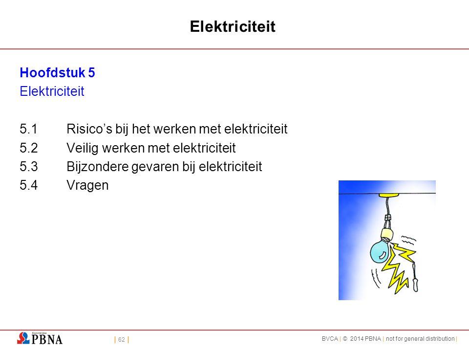 | 62 | BVCA | © 2014 PBNA | not for general distribution | Elektriciteit Hoofdstuk 5 Elektriciteit 5.1Risico's bij het werken met elektriciteit 5.2Vei