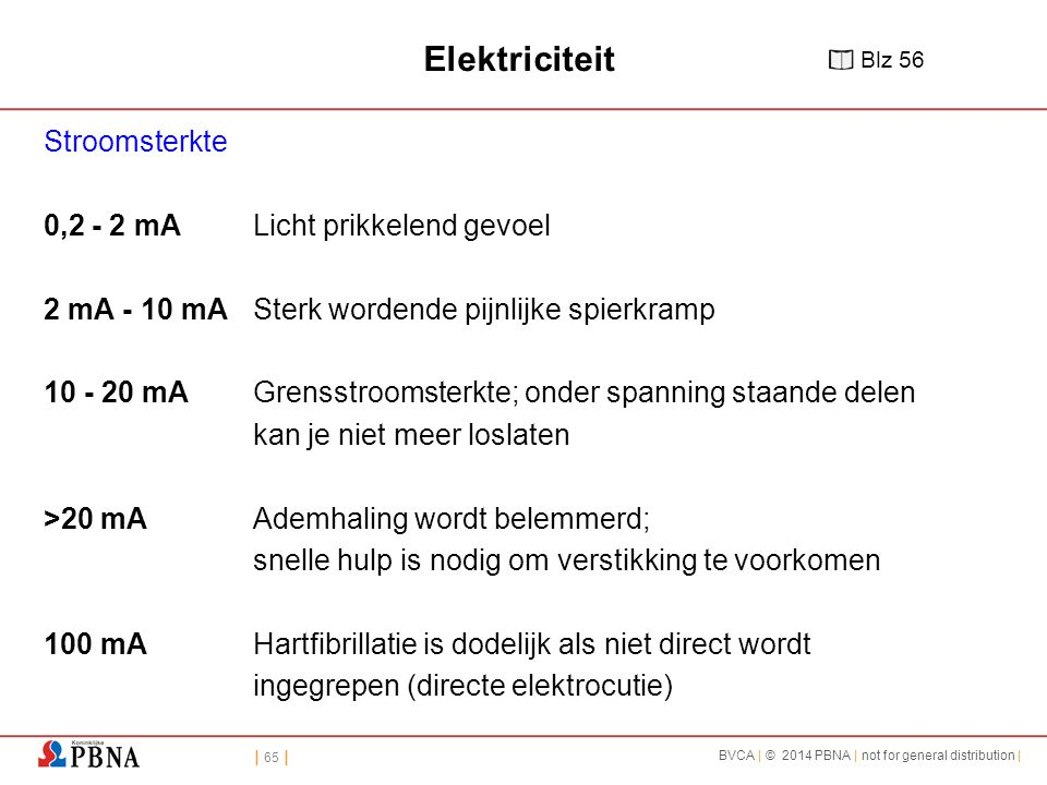 | 65 | BVCA | © 2014 PBNA | not for general distribution | Elektriciteit Stroomsterkte 0,2 - 2 mA Licht prikkelend gevoel 2 mA - 10 mA Sterk wordende