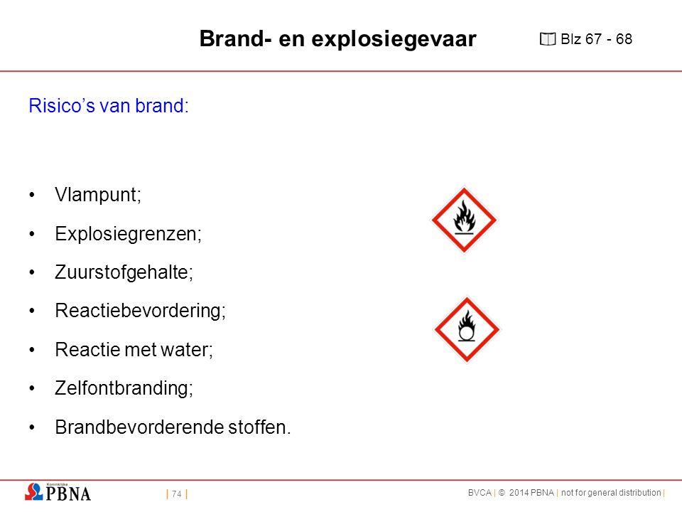 | 74 | BVCA | © 2014 PBNA | not for general distribution | Brand- en explosiegevaar Risico's van brand: Vlampunt; Explosiegrenzen; Zuurstofgehalte; Reactiebevordering; Reactie met water; Zelfontbranding; Brandbevorderende stoffen.
