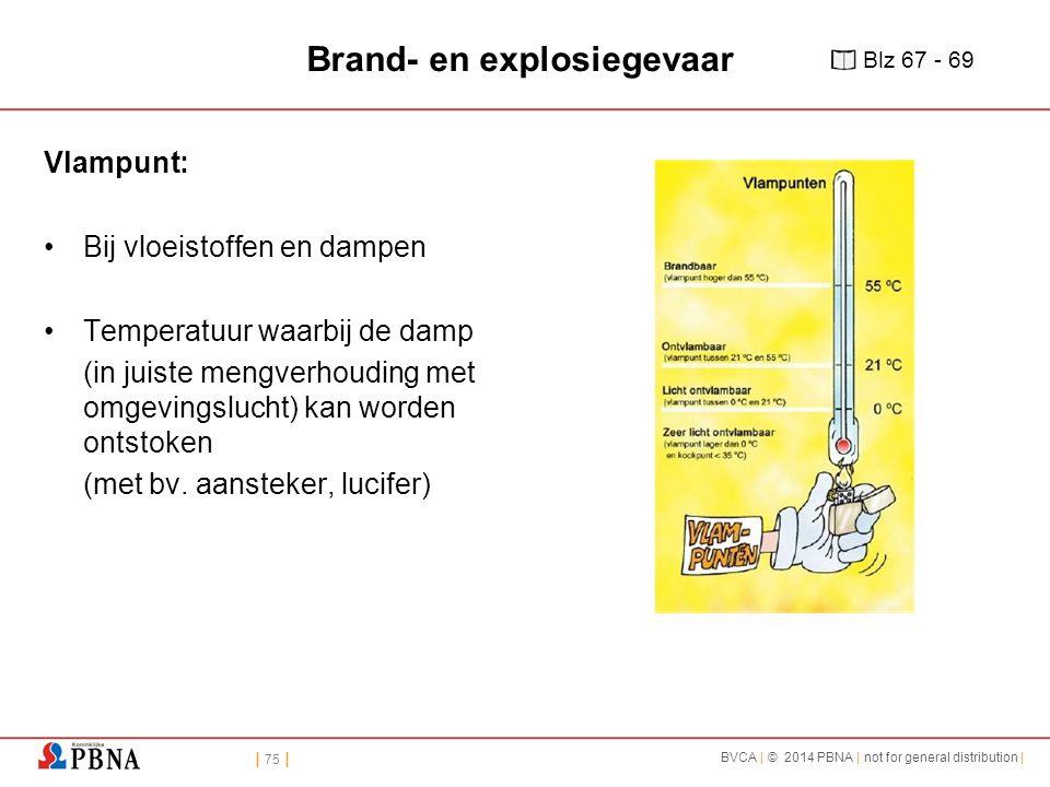| 75 | BVCA | © 2014 PBNA | not for general distribution | Brand- en explosiegevaar Vlampunt: Bij vloeistoffen en dampen Temperatuur waarbij de damp (in juiste mengverhouding met omgevingslucht) kan worden ontstoken (met bv.