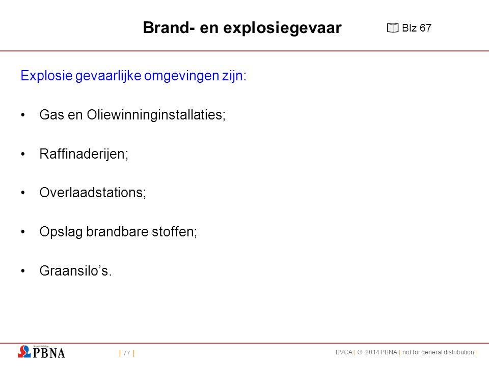 | 77 | BVCA | © 2014 PBNA | not for general distribution | Brand- en explosiegevaar Explosie gevaarlijke omgevingen zijn: Gas en Oliewinninginstallaties; Raffinaderijen; Overlaadstations; Opslag brandbare stoffen; Graansilo's.