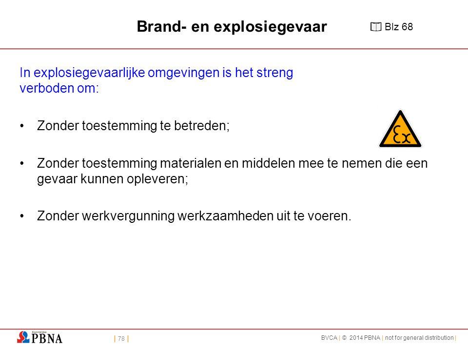 | 78 | BVCA | © 2014 PBNA | not for general distribution | Brand- en explosiegevaar In explosiegevaarlijke omgevingen is het streng verboden om: Zonde