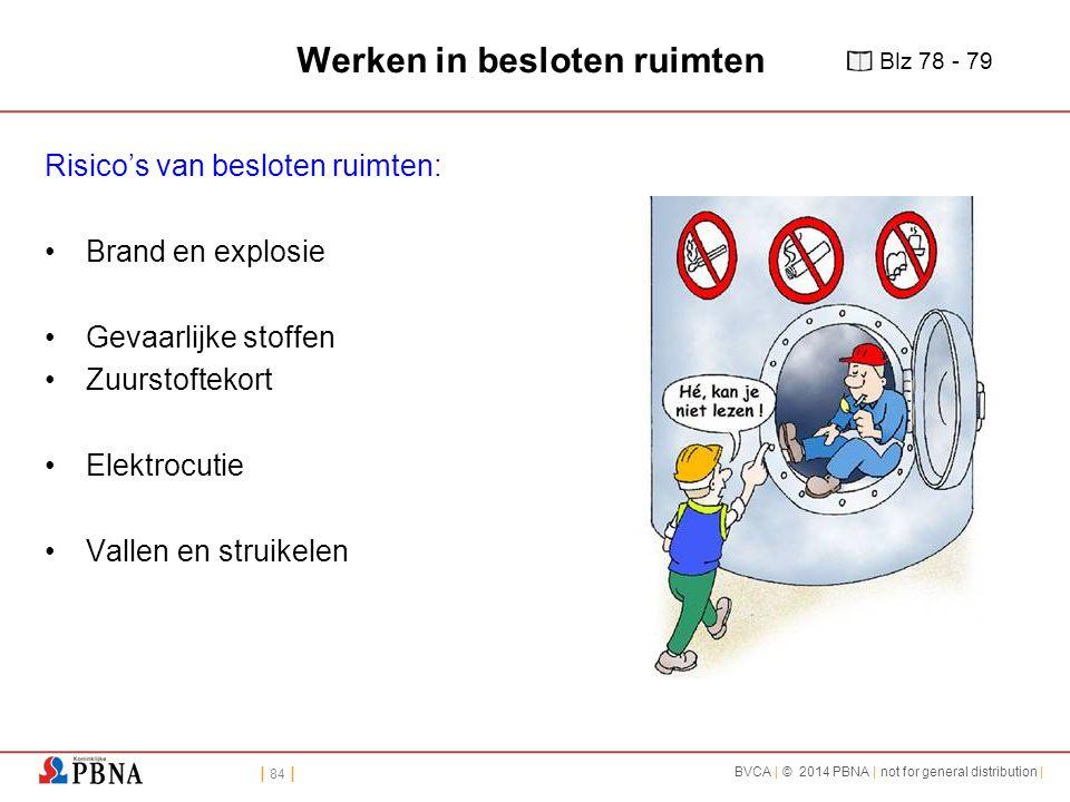 | 84 | BVCA | © 2014 PBNA | not for general distribution | Werken in besloten ruimten Risico's van besloten ruimten: Brand en explosie Gevaarlijke sto