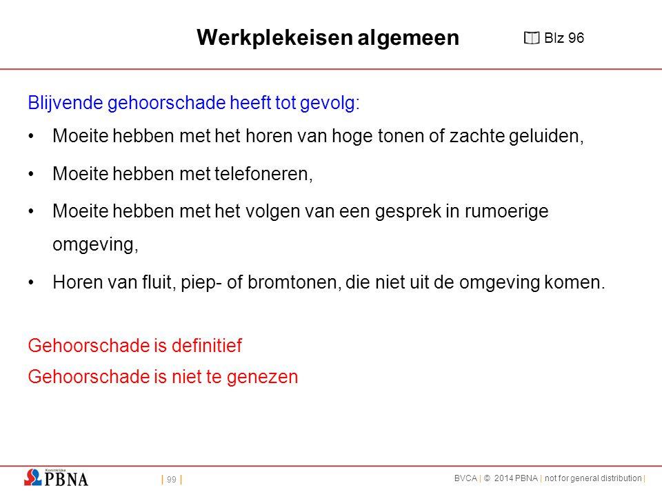 | 99 | BVCA | © 2014 PBNA | not for general distribution | Werkplekeisen algemeen Blijvende gehoorschade heeft tot gevolg: Moeite hebben met het horen