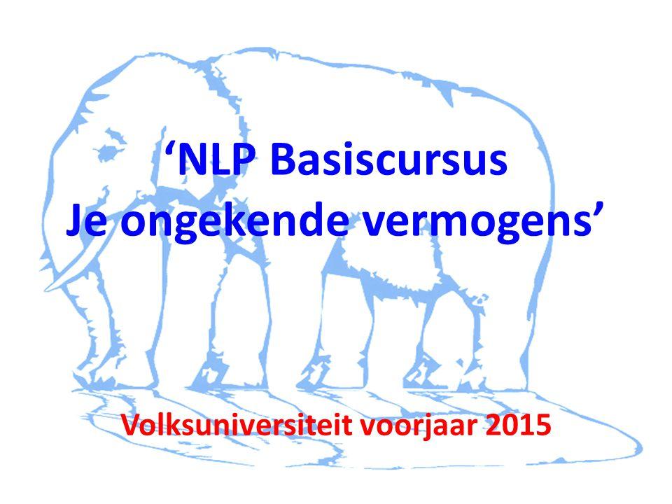 'NLP Basiscursus Je ongekende vermogens' Volksuniversiteit voorjaar 2015