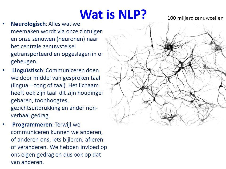 Wat is NLP? Neurologisch: Alles wat we meemaken wordt via onze zintuigen en onze zenuwen (neuronen) naar het centrale zenuwstelsel getransporteerd en
