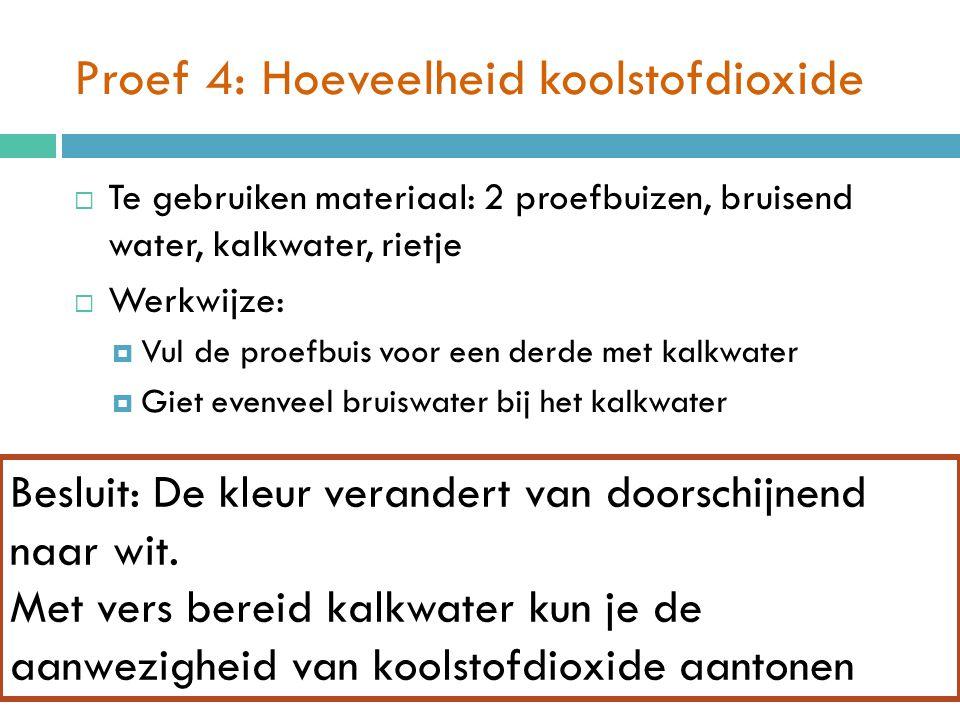 Proef 4: Hoeveelheid koolstofdioxide  Te gebruiken materiaal: 2 proefbuizen, bruisend water, kalkwater, rietje  Werkwijze:  Vul de proefbuis voor de helft met vers bereid kalkwater.