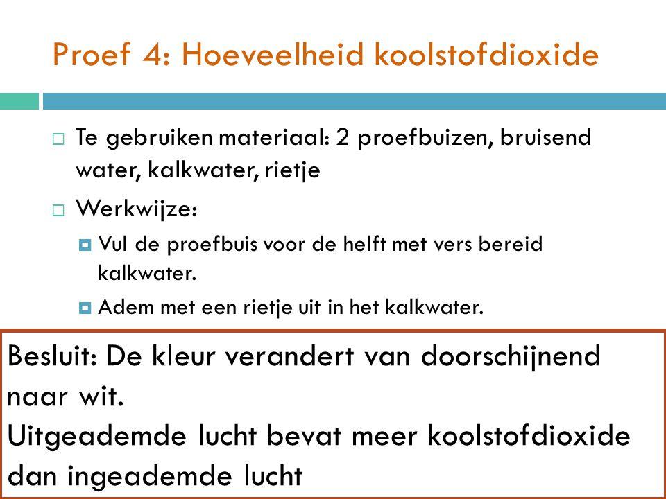 Proef 4: Hoeveelheid koolstofdioxide  Te gebruiken materiaal: 2 proefbuizen, bruisend water, kalkwater, rietje  Werkwijze:  Vul de proefbuis voor d