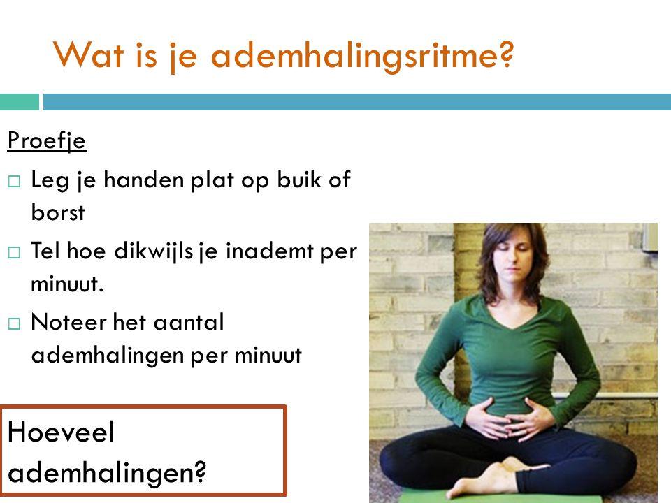 Wat is je ademhalingsritme? Proefje  Leg je handen plat op buik of borst  Tel hoe dikwijls je inademt per minuut.  Noteer het aantal ademhalingen p