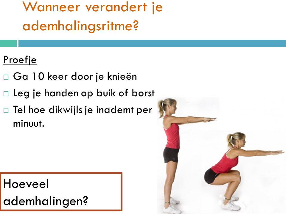Wanneer verandert je ademhalingsritme? Proefje  Ga 10 keer door je knieën  Leg je handen op buik of borst  Tel hoe dikwijls je inademt per minuut.