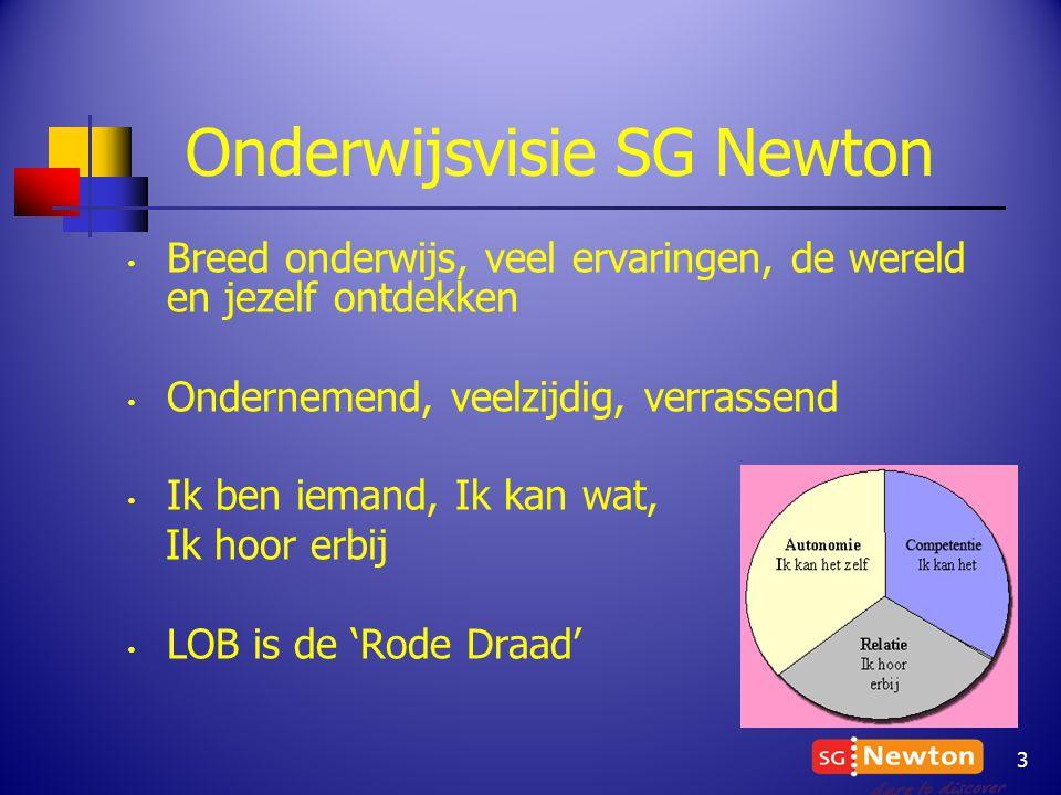 Onderwijsvisie SG Newton Breed onderwijs, veel ervaringen, de wereld en jezelf ontdekken Ondernemend, veelzijdig, verrassend Ik ben iemand, Ik kan wat, Ik hoor erbij LOB is de 'Rode Draad' 3