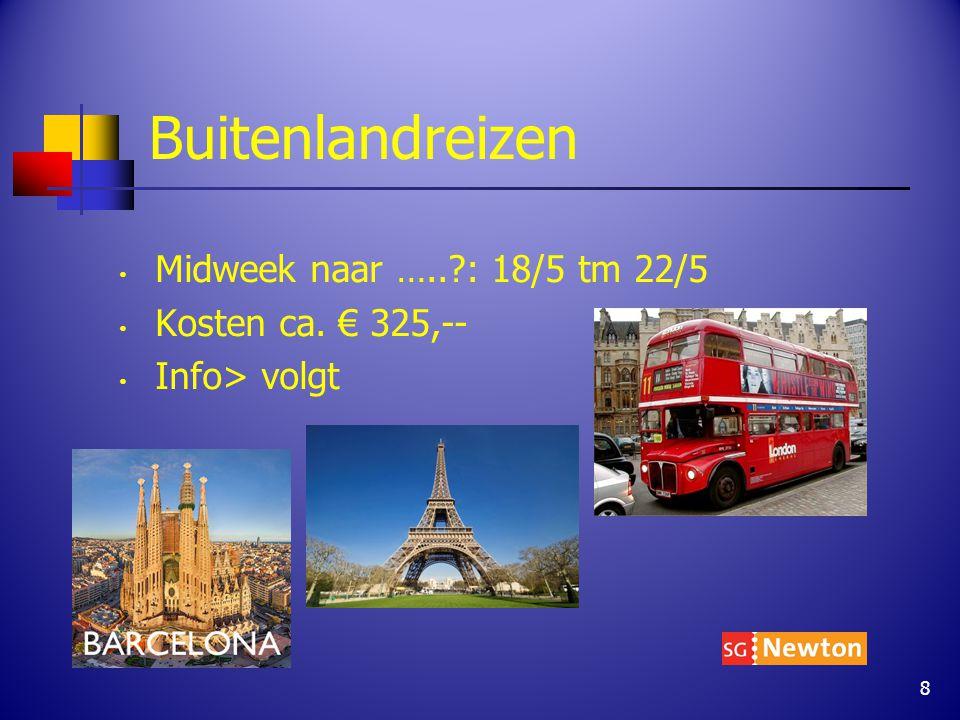 Buitenlandreizen Midweek naar ….. : 18/5 tm 22/5 Kosten ca. € 325,-- Info> volgt 8