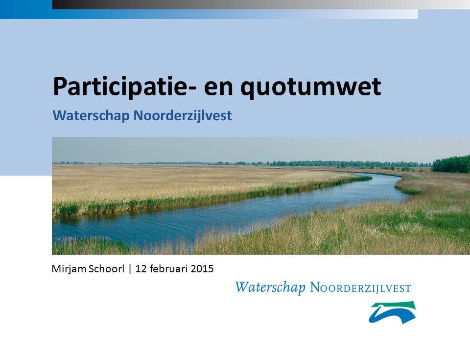 Participatie- en quotumwet Waterschap Noorderzijlvest Mirjam Schoorl | 12 februari 2015
