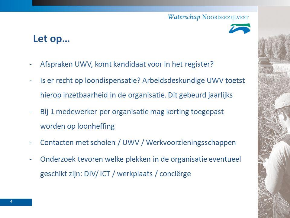Let op… -Afspraken UWV, komt kandidaat voor in het register.