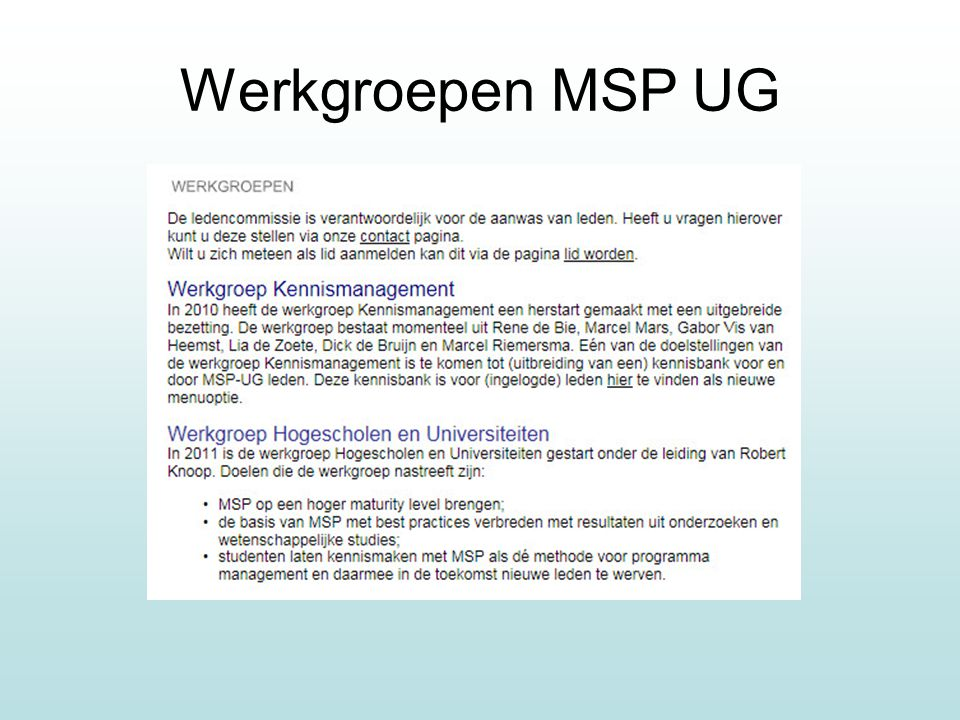 Werkgroepen MSP UG