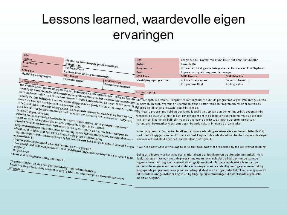Lessons learned, waardevolle eigen ervaringen