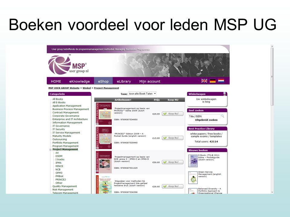 Boeken voordeel voor leden MSP UG