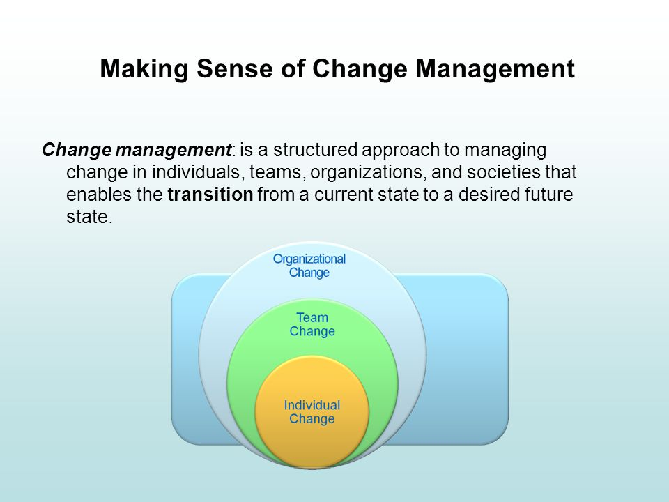Making Sense of Change Management Change management: is a structured approach to managing change in individuals, teams, organizations, and societies t