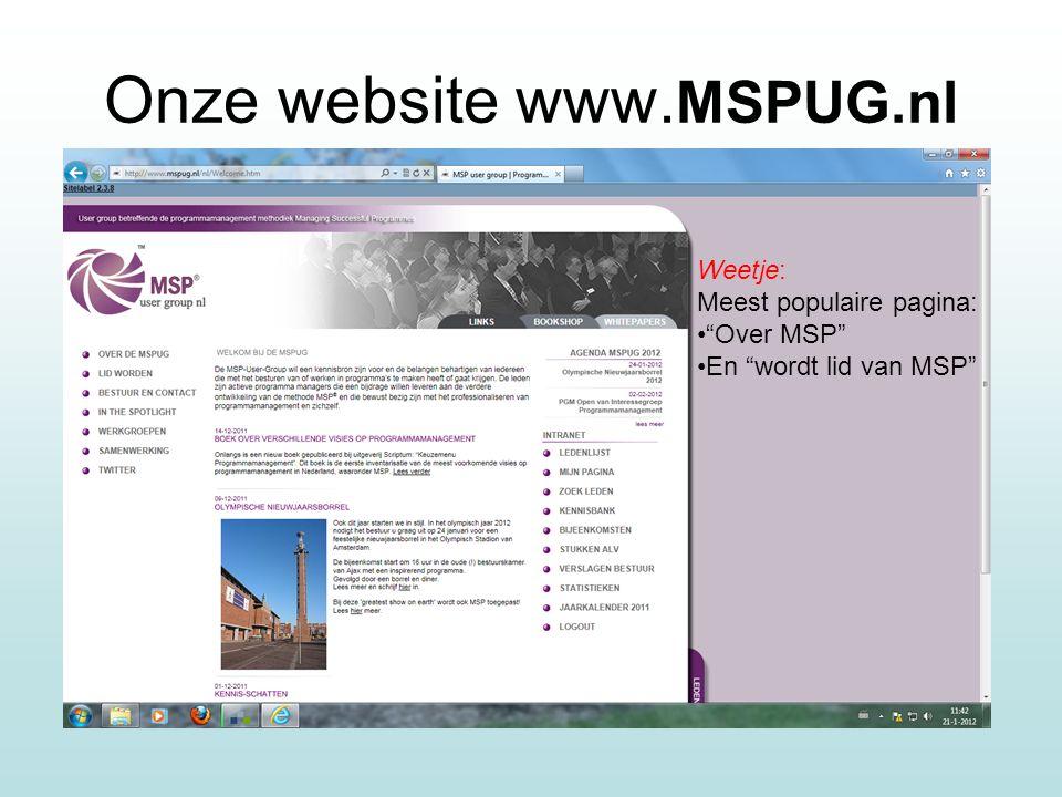 Onze website www. MSPUG.nl Weetje: Meest populaire pagina: Over MSP En wordt lid van MSP