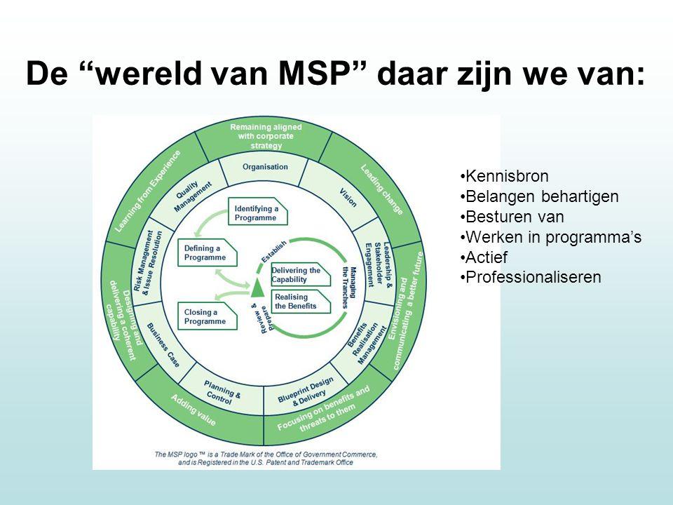 De wereld van MSP daar zijn we van: Kennisbron Belangen behartigen Besturen van Werken in programma's Actief Professionaliseren