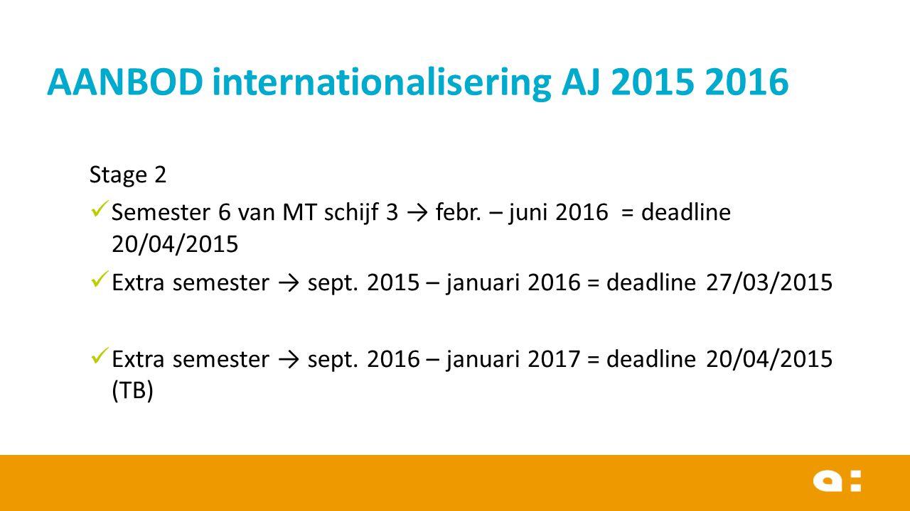 Stage 2 Semester 6 van MT schijf 3 → febr. – juni 2016 = deadline 20/04/2015 Extra semester → sept.