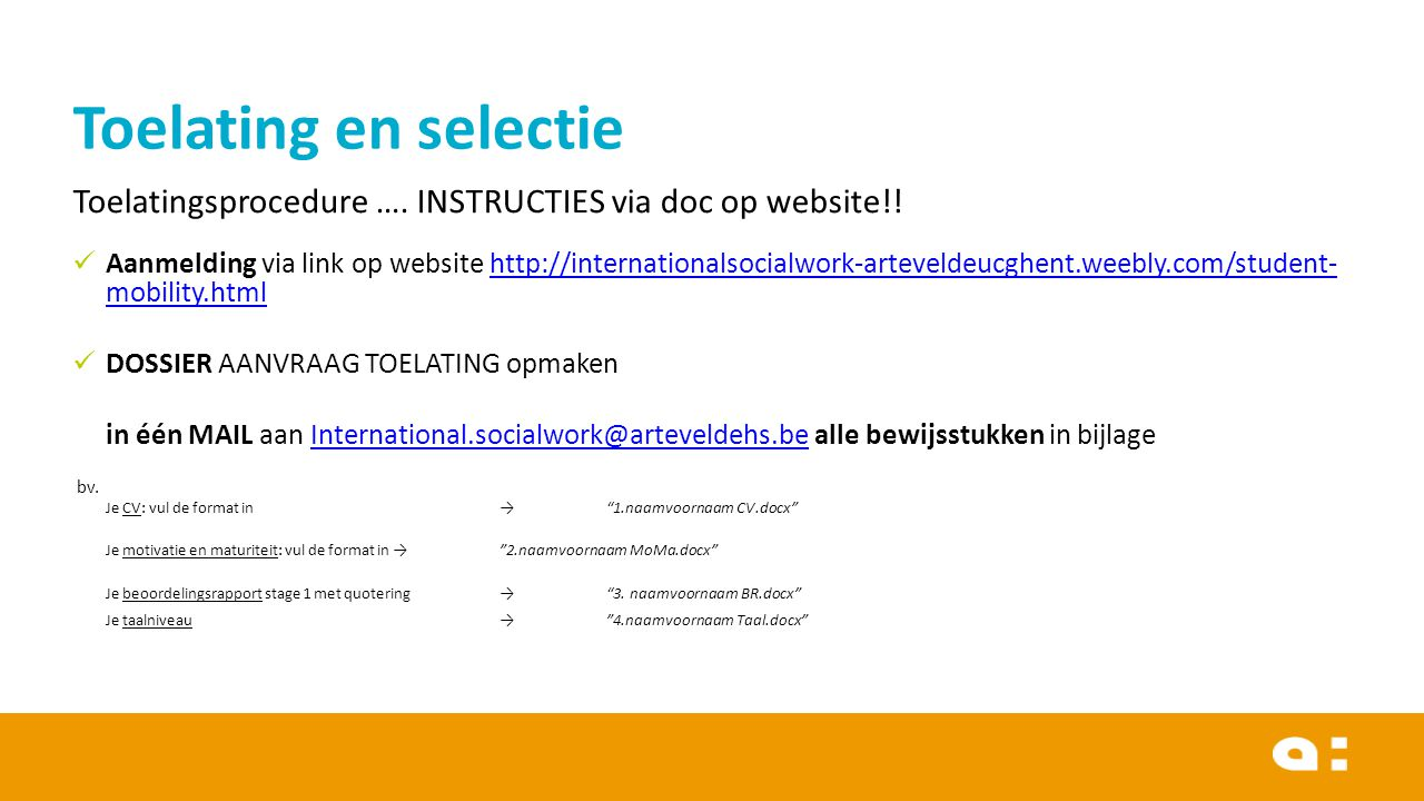 Toelatingsprocedure ….INSTRUCTIES via doc op website!.