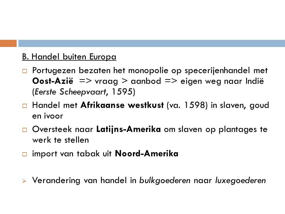 2 De organisatie van de handel Banken en beurzen  Amsterdamse wisselbank (1609): kooplieden konden geld in bewaring geven, wisselen en overboeken.